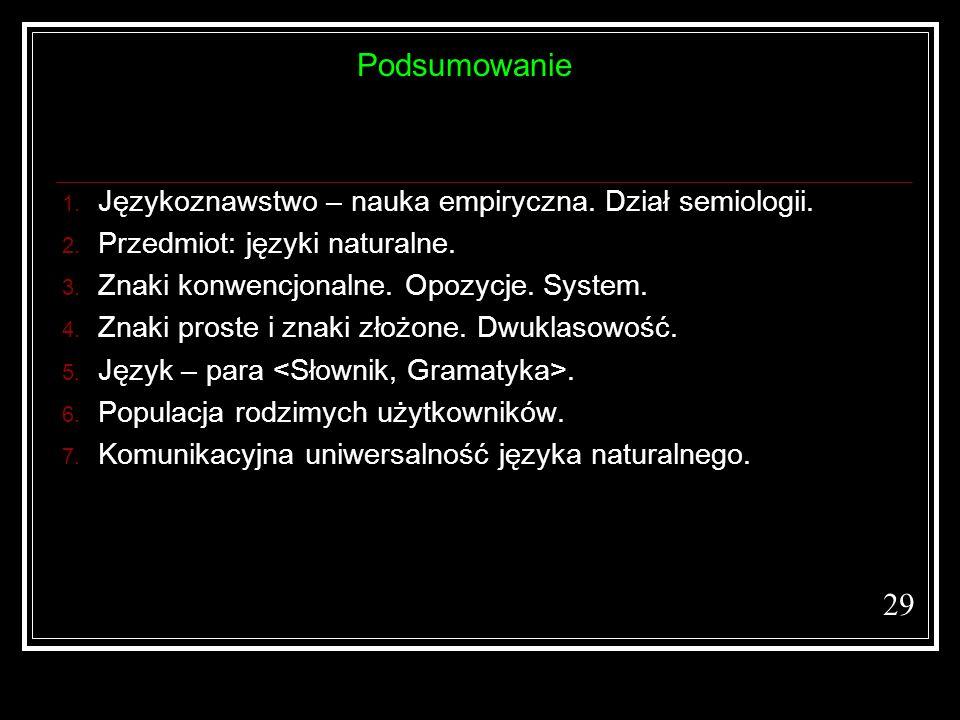 29 1. Językoznawstwo – nauka empiryczna. Dział semiologii. 2. Przedmiot: języki naturalne. 3. Znaki konwencjonalne. Opozycje. System. 4. Znaki proste