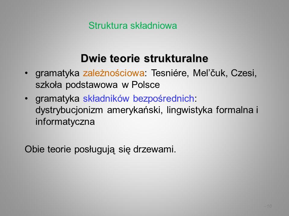 – 10 Dwie teorie strukturalne gramatyka zależnościowa: Tesniére, Melčuk, Czesi, szkoła podstawowa w Polsce gramatyka składników bezpośrednich: dystryb