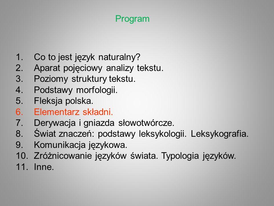 Program 1.Co to jest język naturalny? 2.Aparat pojęciowy analizy tekstu. 3.Poziomy struktury tekstu. 4.Podstawy morfologii. 5.Fleksja polska. 6.Elemen