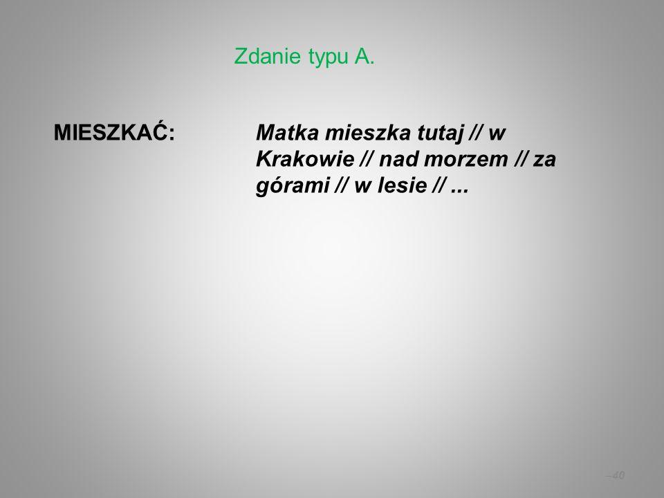 – 40 MIESZKAĆ:Matka mieszka tutaj // w Krakowie // nad morzem // za górami // w lesie //... Zdanie typu A.
