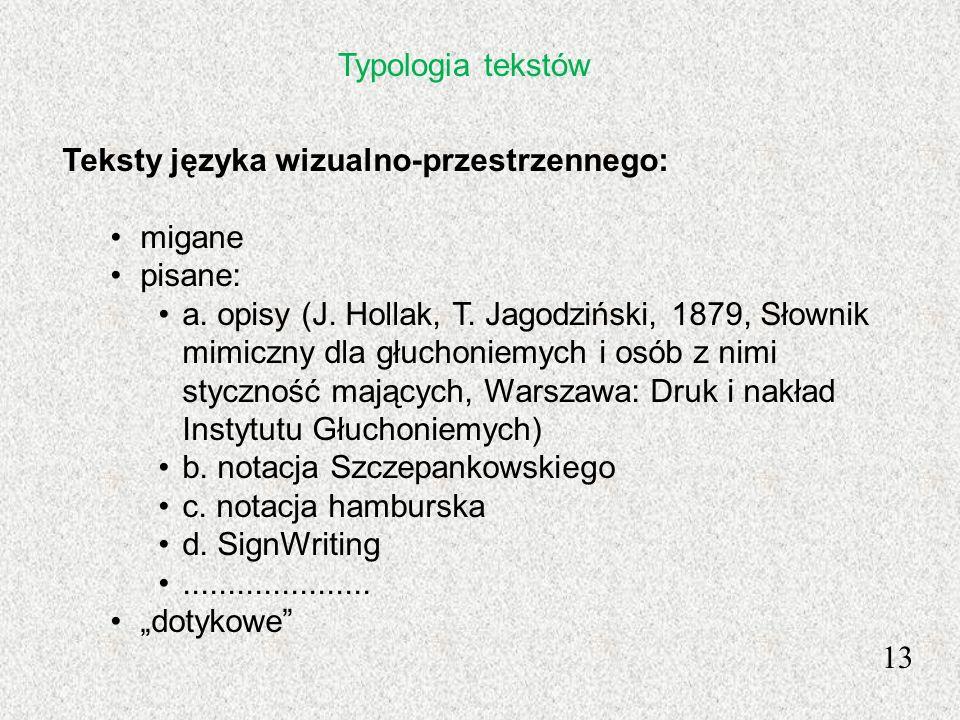 13 Teksty języka wizualno-przestrzennego: migane pisane: a. opisy (J. Hollak, T. Jagodziński, 1879, Słownik mimiczny dla głuchoniemych i osób z nimi s