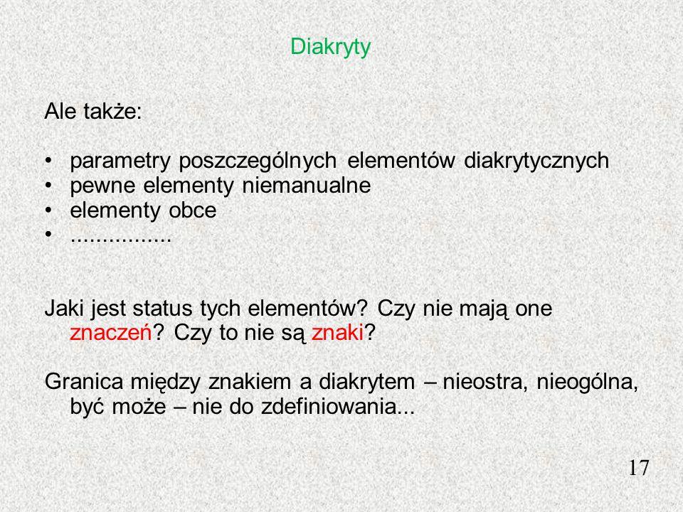 17 Ale także: parametry poszczególnych elementów diakrytycznych pewne elementy niemanualne elementy obce................ Jaki jest status tych element