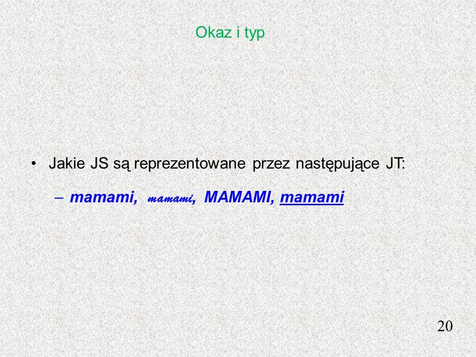 20 Jakie JS są reprezentowane przez następujące JT: –mamami, mamami, MAMAMI, mamami Okaz i typ