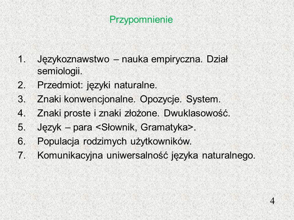 Przypomnienie 1.Językoznawstwo – nauka empiryczna. Dział semiologii. 2.Przedmiot: języki naturalne. 3.Znaki konwencjonalne. Opozycje. System. 4.Znaki