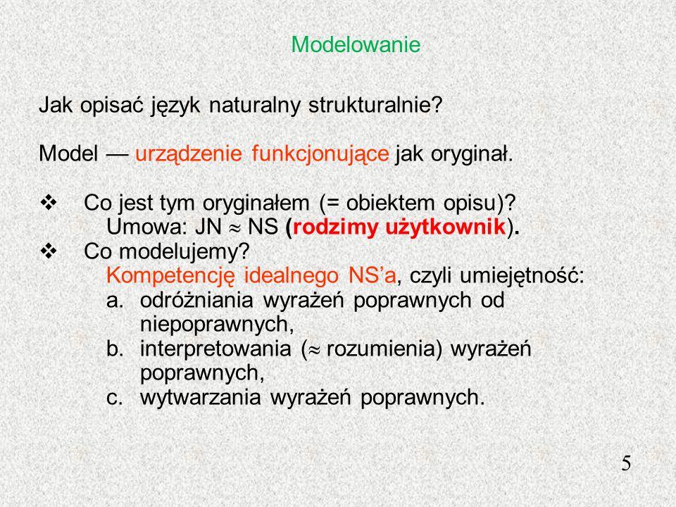 Modelowanie Jak opisać język naturalny strukturalnie? Model urządzenie funkcjonujące jak oryginał. Co jest tym oryginałem (= obiektem opisu)? Umowa: J