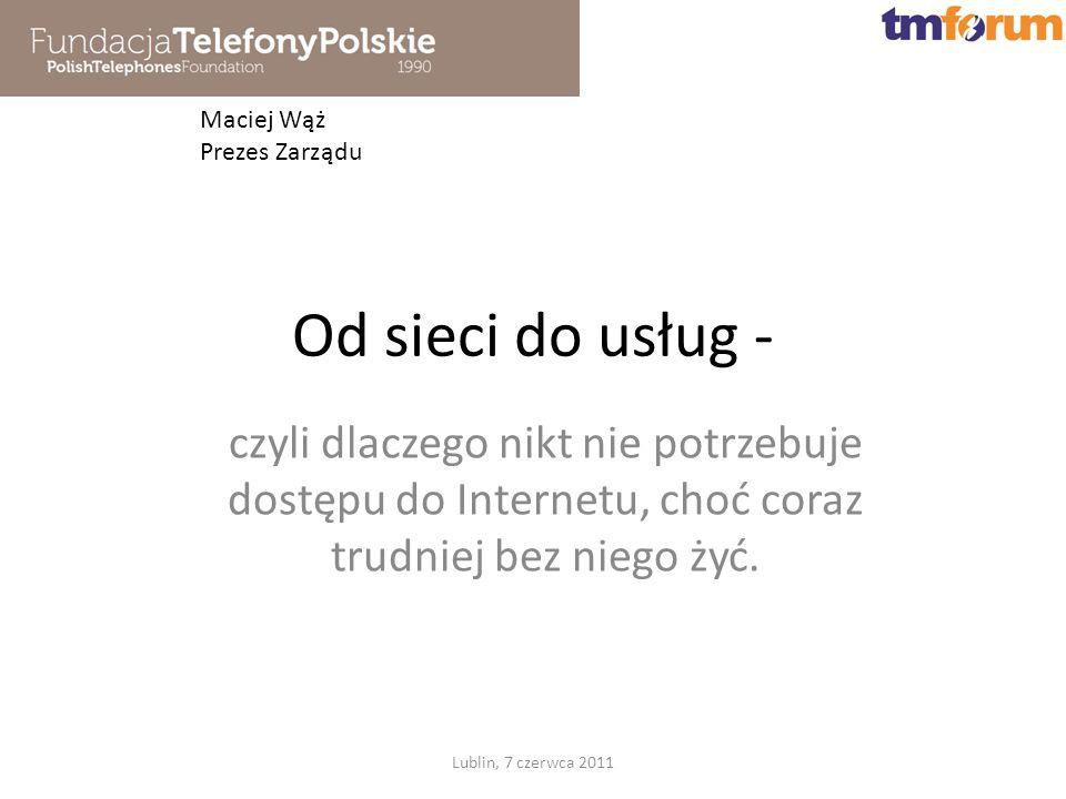 1990 Konferencja Telefonia komórkowa: mit czy paląca potrzeba - w grudniu 1991 powstała pierwsza sieć mobilna NMT450i, której operatorem został Centertel 1991-1995 Inicjatywa programu PHARE Rural Telecommunications Poland - Zmieniono Ustawę o Łączności dopuszczając konkurencję na poziomie lokalnym; utworzone w ramach PHARE spółki operatorskie na deficytowych obszarach działają do dziś i są zyskowne 1996 - Konferencja Wieś nie musi czekać na telefony początek upowszechnienia technik stacjonarnego radiodostępu na polskim rynku 2009 - wspólna inicjatywa utworzenia Forum Szerokopasmowego 2009 - inicjatywa powiązania kooperacyjnego teleAkcelerator Lublin, 7 czerwca 2011