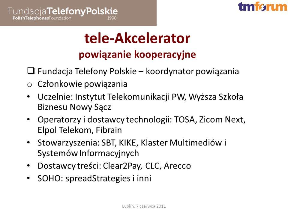 tele-Akcelerator powiązanie kooperacyjne Lublin, 7 czerwca 2011 Fundacja Telefony Polskie – koordynator powiązania o Członkowie powiązania Uczelnie: Instytut Telekomunikacji PW, Wyższa Szkoła Biznesu Nowy Sącz Operatorzy i dostawcy technologii: TOSA, Zicom Next, Elpol Telekom, Fibrain Stowarzyszenia: SBT, KIKE, Klaster Multimediów i Systemów Informacyjnych Dostawcy treści: Clear2Pay, CLC, Arecco SOHO: spreadStrategies i inni