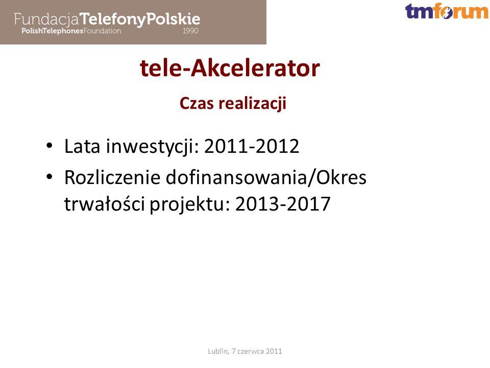 tele-Akcelerator Czas realizacji Lublin, 7 czerwca 2011 Lata inwestycji: 2011-2012 Rozliczenie dofinansowania/Okres trwałości projektu: 2013-2017