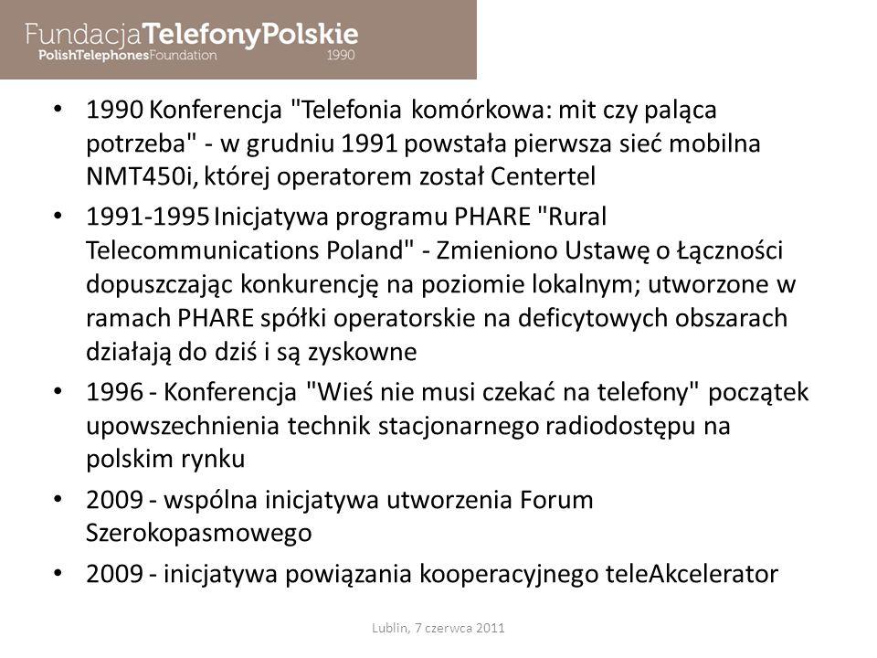 PSTN, Telefonia mobilna Komitety telefonizacji Program Telekomunikacja Wiejska PHARE 1990 1991 Telefony Podlaskie, Telefony Opalenickie, Chmielnik, Łąka, Szeptel … 1992 - telefonia mobilna analogowa 1996 – telefonia mobilna cyfrowa Lublin, 7 czerwca 2011