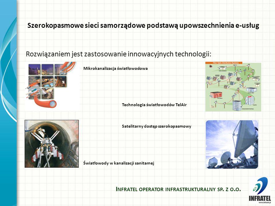 Szerokopasmowe sieci samorządowe podstawą upowszechnienia e-usług Rozwiązaniem jest zastosowanie innowacyjnych technologii: I NFRATEL OPERATOR INFRASTRUKTURALNY SP.