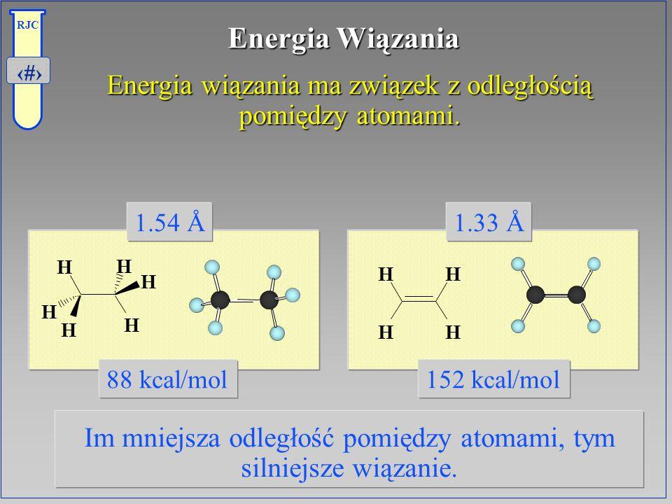 11 RJC Energia Wiązania Energia wiązania ma związek z odległością pomiędzy atomami. Energia wiązania ma związek z odległością pomiędzy atomami. Im mni