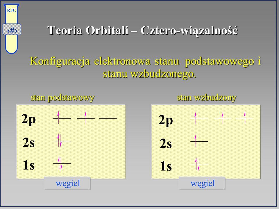 4 RJC Teoria Orbitali – Cztero-wiązalność Konfiguracja elektronowa stanu podstawowego i stanu wzbudzonego. węgiel stan podstawowy stan wzbudzony stan