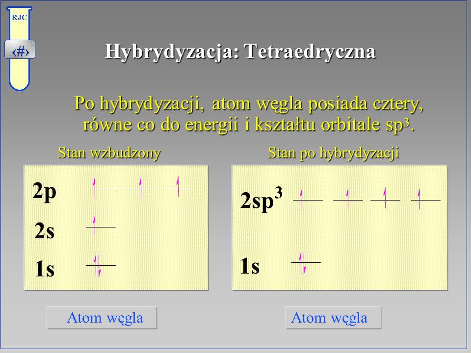 5 RJC Hybrydyzacja: Tetraedryczna Po hybrydyzacji, atom węgla posiada cztery, równe co do energii i kształtu orbitale sp 3. Po hybrydyzacji, atom węgl