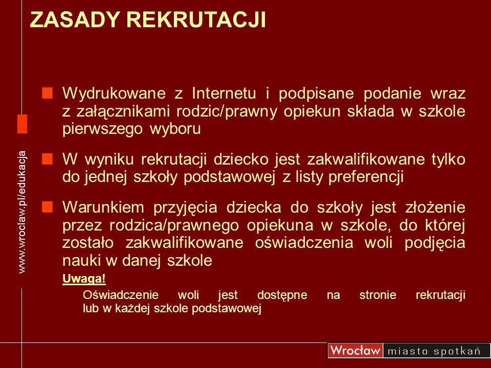 www.wroclaw.pl/edukacja Wydrukowane z Internetu i podpisane podanie wraz z załącznikami rodzic/prawny opiekun składa w szkole pierwszego wyboru W wyni