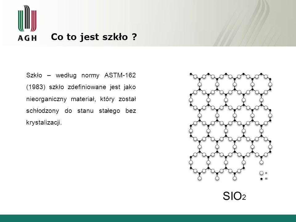 Co to jest szkło ? SIO 2 Szkło – według normy ASTM-162 (1983) szkło zdefiniowane jest jako nieorganiczny materiał, który został schłodzony do stanu st