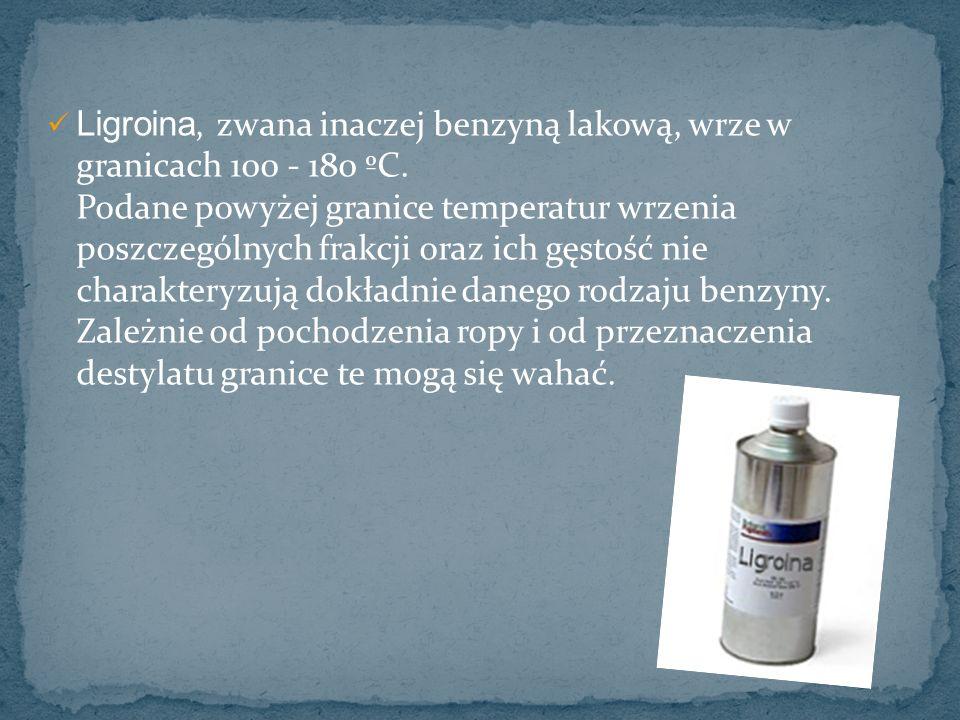 Ligroina, zwana inaczej benzyną lakową, wrze w granicach 100 - 180 ºC. Podane powyżej granice temperatur wrzenia poszczególnych frakcji oraz ich gęsto