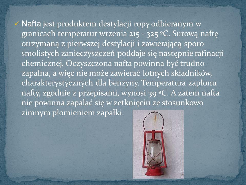 Nafta jest produktem destylacji ropy odbieranym w granicach temperatur wrzenia 215 - 325 ºC. Surową naftę otrzymaną z pierwszej destylacji i zawierają