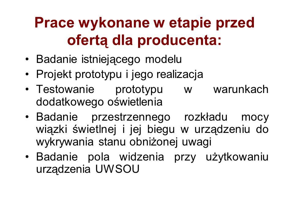 Prace wykonane w etapie przed ofertą dla producenta: Badanie istniejącego modelu Projekt prototypu i jego realizacja Testowanie prototypu w warunkach