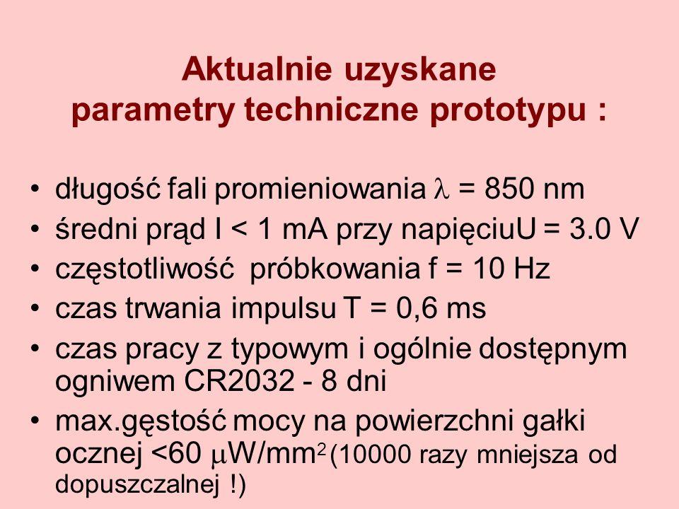 Aktualnie uzyskane parametry techniczne prototypu : długość fali promieniowania = 850 nm średni prąd I < 1 mA przy napięciuU = 3.0 V częstotliwość pró