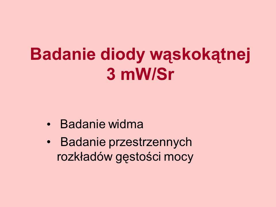 Badanie diody wąskokątnej 3 mW/Sr Badanie widma Badanie przestrzennych rozkładów gęstości mocy