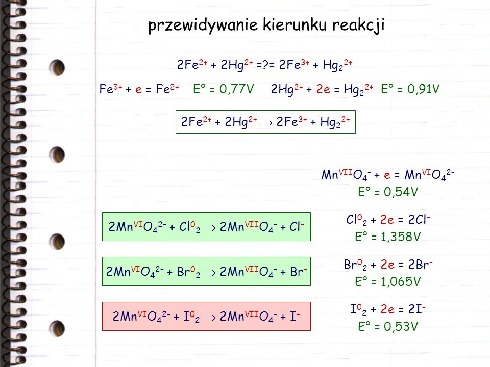 przewidywanie kierunku reakcji 2Hg 2+ + 2e = Hg 2 2+ E° = 0,91VFe 3+ + e = Fe 2+ E° = 0,77V 2Fe 2+ + 2Hg 2+ =?= 2Fe 3+ + Hg 2 2+ 2Fe 2+ + 2Hg 2+ 2Fe 3