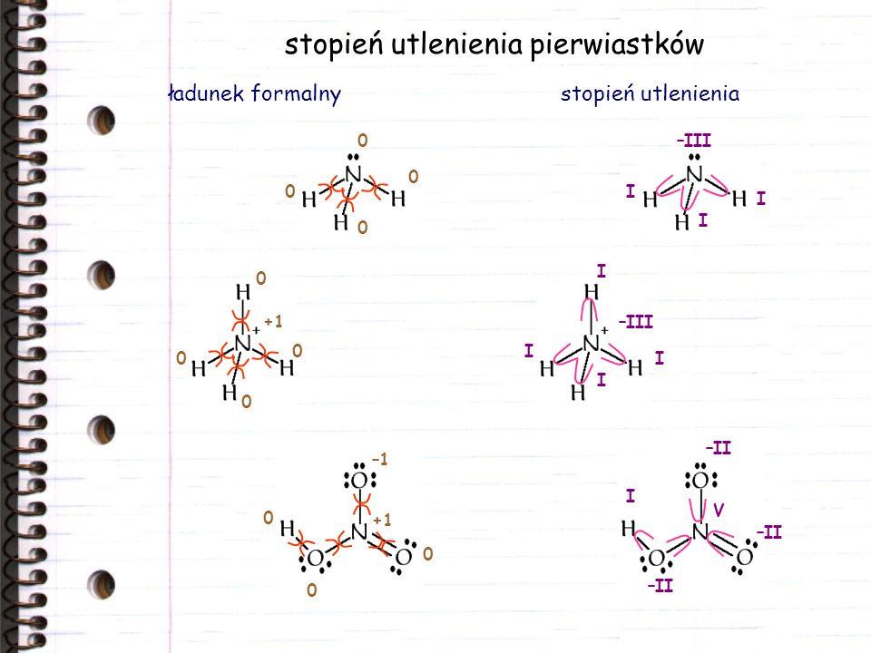 stopień utlenienia pierwiastków ładunek formalnystopień utlenienia –III I I I I I I I I –II V 0 0 0 0 +1 0 0 0 0 –1 +1 0 0 0
