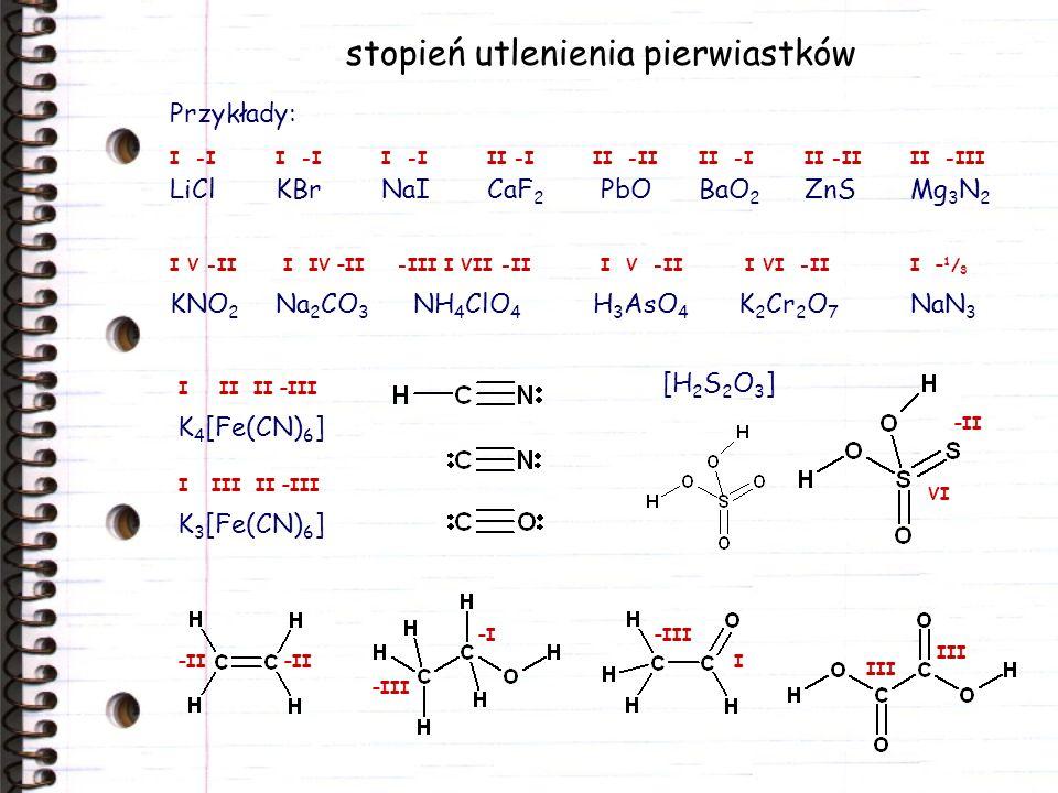 stopień utlenienia pierwiastków Przykłady: LiClKBrNaICaF 2 PbOBaO 2 ZnSMg 3 N 2 KNO 2 Na 2 CO 3 NH 4 ClO 4 H 3 AsO 4 K 2 Cr 2 O 7 NaN 3 K 4 [Fe(CN) 6