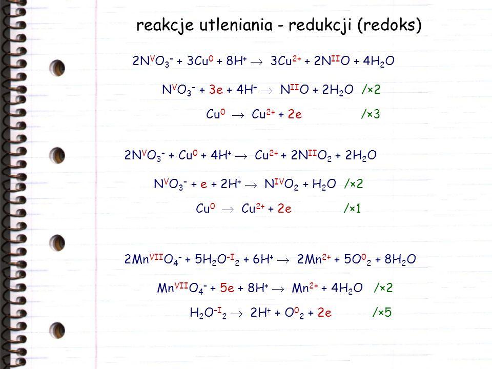 reakcje utleniania - redukcji (redoks) Cr VI 2 O 7 2– + 3H 2 C III 2 O 4 + 8H + 2Cr 3+ + 6C IV O 2 + 7H 2 O Cr VI 2 O 7 2– + 6e + 14H + 2Cr 3+ + 7H 2 O /×1 H 2 C III 2 O 4 2C IV O 2 + 2H + + 2e /×3 2Cr 3+ + 3H 2 O –I 2 + 10 O –II H – 2Cr VI O 4 2– + 8H 2 O –II H 2 O –I 2 + 2e 2O –II H – /×3 Cr 3+ + 8OH – Cr VI O 4 2– + 4H 2 O + 3e /×2 Pb IV O 2 + 2Cl – + 4H + Pb 2+ + Cl 0 2 + 2H 2 O Pb IV O 2 + 2e + 4H + Pb 2+ + 2H 2 O /×1 2Cl – Cl 0 2 + 2e /×1