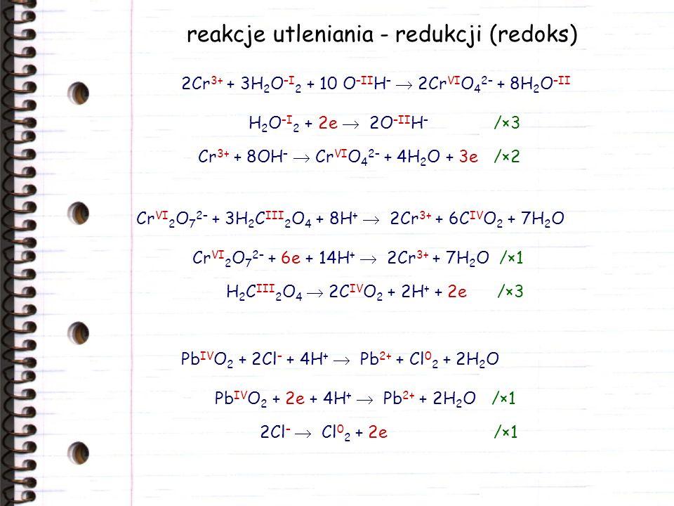 wpływ środowiska na reakcje redoks 2Mn VII O 4 – + 5H 2 S –II + 6H + 2Mn 2+ + 5S 0 + 8H 2 O Mn VII O 4 – + 5e + 8H + Mn 2+ + 4H 2 O /×2 H 2 S –II 2H + + S 0 + 2e /×5 2Mn VII O 4 – + 3H 2 S –II 2Mn IV O 2 + 3S 0 + 2OH – + 2H 2 O Mn VII O 4 – + 3e + 2H 2 O Mn IV O 2 + 4OH – /×2 H 2 S –II + 2OH – S 0 + 2H 2 O + 2e /×3 2Mn VII O 4 – + H 2 S –II + 2OH – 2Mn VI O 4 2– + S 0 + 2H 2 O Mn VII O 4 – + e Mn VI O 4 2– /×2 H 2 S –II + 2OH – S 0 + 2H 2 O + 2e /×1 kwaśne obojętne zasadowe