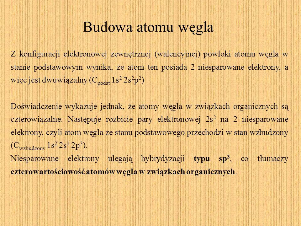 Budowa atomu węgla Z konfiguracji elektronowej zewnętrznej (walencyjnej) powłoki atomu węgla w stanie podstawowym wynika, że atom ten posiada 2 niespa
