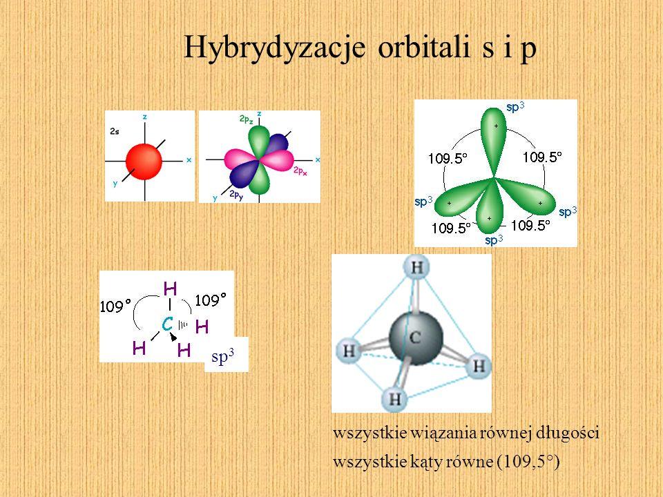 Hybrydyzacje orbitali s i p sp 3 wszystkie wiązania równej długości wszystkie kąty równe (109,5°)