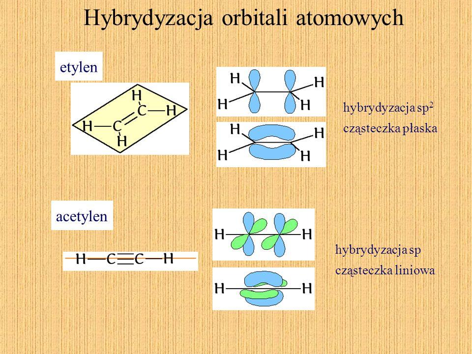 Hybrydyzacja orbitali atomowych etylen hybrydyzacja sp 2 cząsteczka płaska acetylen hybrydyzacja sp cząsteczka liniowa
