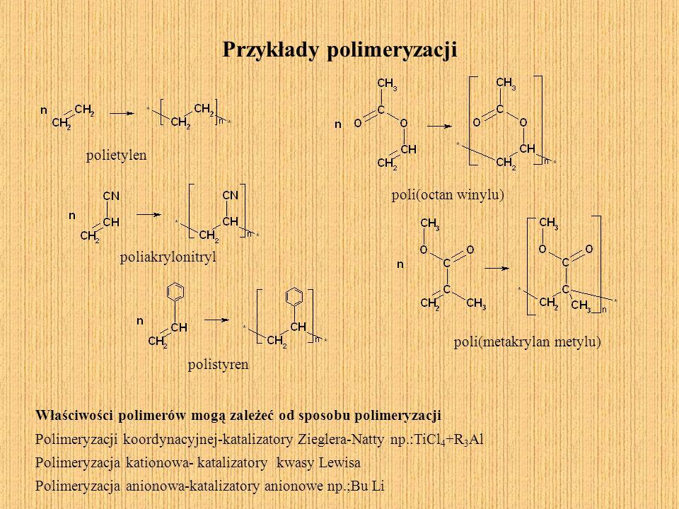 Właściwości polimerów mogą zależeć od sposobu polimeryzacji Polimeryzacji koordynacyjnej-katalizatory Zieglera-Natty np.:TiCl 4 +R 3 Al Polimeryzacja
