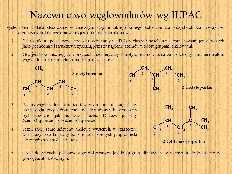 Nazewnictwo węglowodorów wg IUPAC System ten zakłada stosowanie w znacznym stopniu takiego samego schematu dla wszystkich klas związków organicznych.