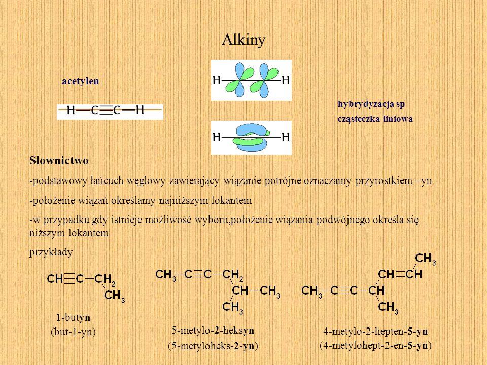 Alkiny acetylen hybrydyzacja sp cząsteczka liniowa Słownictwo -podstawowy łańcuch węglowy zawierający wiązanie potrójne oznaczamy przyrostkiem –yn -po