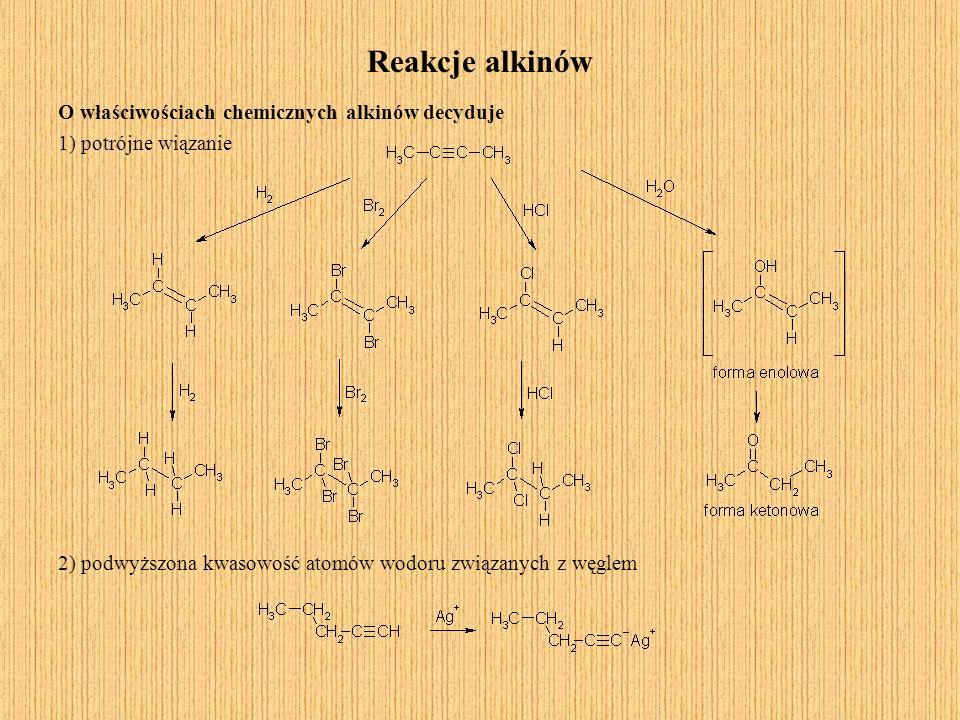 Reakcje alkinów O właściwościach chemicznych alkinów decyduje 1) potrójne wiązanie 2) podwyższona kwasowość atomów wodoru związanych z węglem