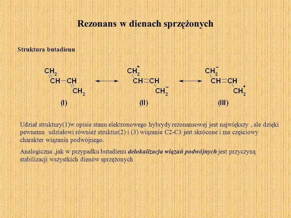 Rezonans w dienach sprzężonych Struktura butadienu Udział struktury(1)w opisie stanu elektronowego hybrydy rezonansowej jest największy, ale dzięki pe