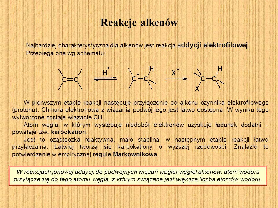 Reakcje alkenów Reguła Markownikowa W reakcjach jonowej addycji do podwójnych wiązań węgiel-węgiel alkenów, atom wodoru przyłącza się do tego atomu węgla, z którym związana jest większa liczba atomów wodoru.