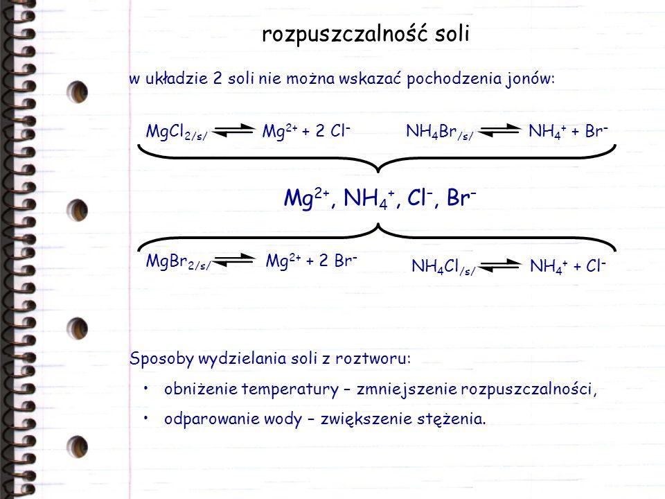 rozpuszczalność soli w układzie 2 soli nie można wskazać pochodzenia jonów: Sposoby wydzielania soli z roztworu: obniżenie temperatury – zmniejszenie