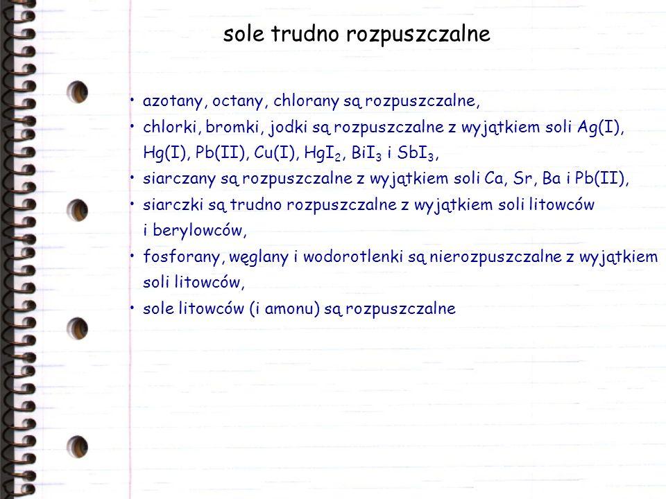 sole trudno rozpuszczalne azotany, octany, chlorany są rozpuszczalne, chlorki, bromki, jodki są rozpuszczalne z wyjątkiem soli Ag(I), Hg(I), Pb(II), C
