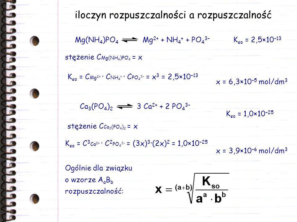 iloczyn rozpuszczalności a rozpuszczalność stężenie C Mg(NH 4 )PO 4 = x K so = C Mg 2+ · C NH 4 + · C PO 4 3– = x 3 = 2,5×10 –13 x = 6,3×10 –5 mol/dm