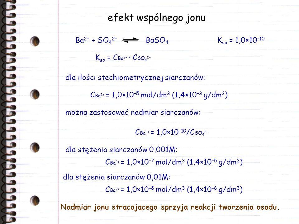 efekt wspólnego jonu dla ilości stechiometrycznej siarczanów: K so = C Ba 2+ · C SO 4 2– Ba 2+ + SO 4 2– BaSO 4 K so = 1,0×10 –10 C Ba 2+ = 1,0×10 –10