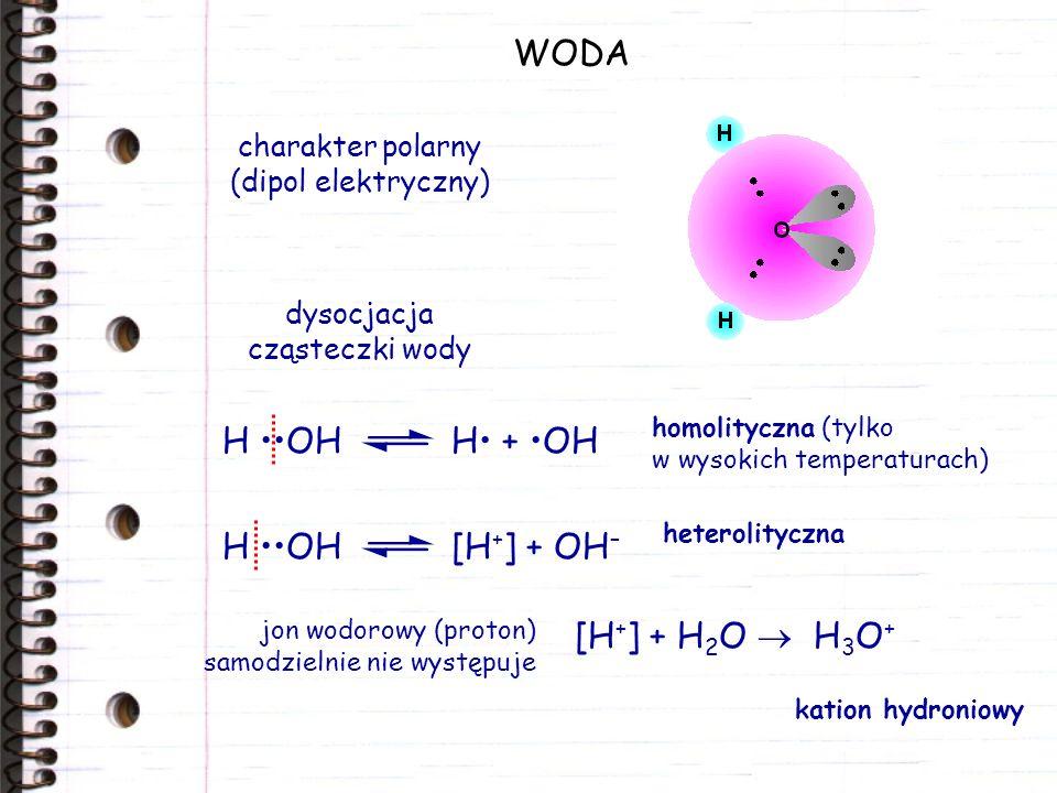 WODA charakter polarny (dipol elektryczny) dysocjacja cząsteczki wody H OHH + OH homolityczna (tylko w wysokich temperaturach) H OH[H + ] + OH – heter