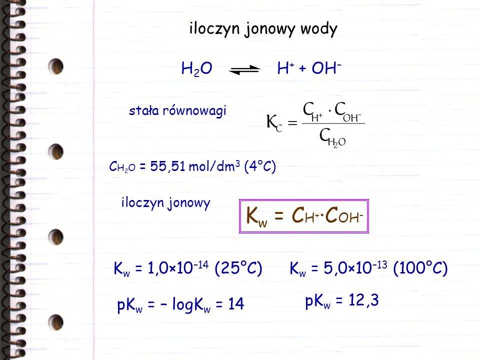 iloczyn jonowy wody C H 2 O = 55,51 mol/dm 3 (4°C) H 2 O H + + OH – stała równowagi iloczyn jonowy K w = C H + ·C OH – K w = 1,0×10 –14 (25°C) pK w =
