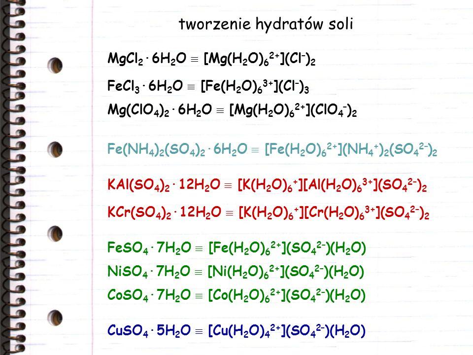 tworzenie hydratów soli MgCl 2 ·6H 2 O [Mg(H 2 O) 6 2+ ](Cl – ) 2 FeCl 3 ·6H 2 O [Fe(H 2 O) 6 3+ ](Cl – ) 3 KAl(SO 4 ) 2 ·12H 2 O [K(H 2 O) 6 + ][Al(H