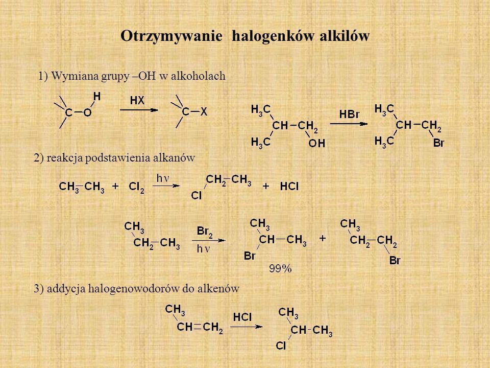 Otrzymywanie odczynnika Grignarda R-X + Mg R Mg X reakcja jest prowadzona w rozpuszczalniku eterze etylowym W związeku Grignarda (halogenek alkilomagnezowy) występuje między węglem a magnezem wiązanie kowalencyjne, silnie polarne,gdyż atom węgla przyciąga elektrony należące do elektrododatniego atomu magnezu,natomiast wiązanie magnez –halogen jest w zasadzie jonowe.