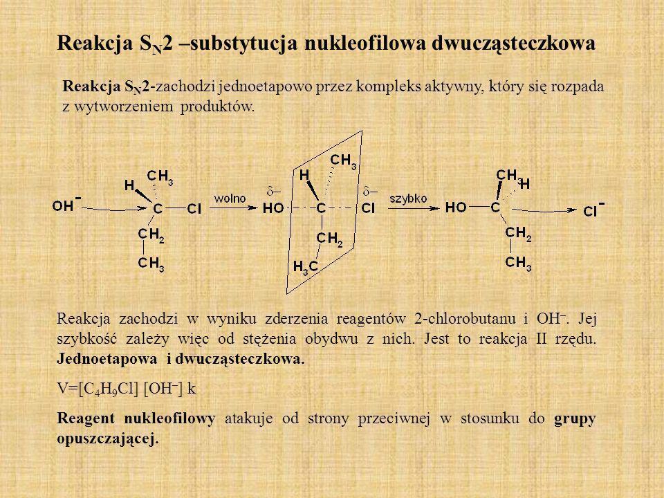 Reakcja S N 2 –substytucja nukleofilowa dwucząsteczkowa Reakcja S N 2-zachodzi jednoetapowo przez kompleks aktywny, który się rozpada z wytworzeniem p