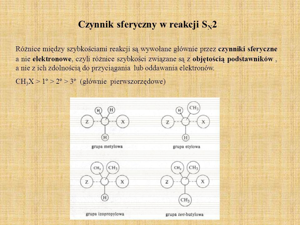 Czynnik sferyczny w reakcji S N 2 Różnice między szybkościami reakcji są wywołane głównie przez czynniki sferyczne a nie elektronowe, czyli różnice sz