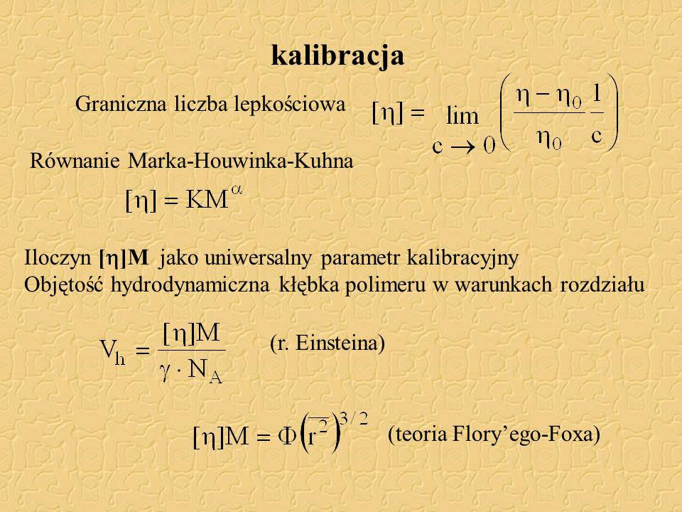 kalibracja Graniczna liczba lepkościowa Równanie Marka-Houwinka-Kuhna Iloczyn [ ]M jako uniwersalny parametr kalibracyjny Objętość hydrodynamiczna kłę