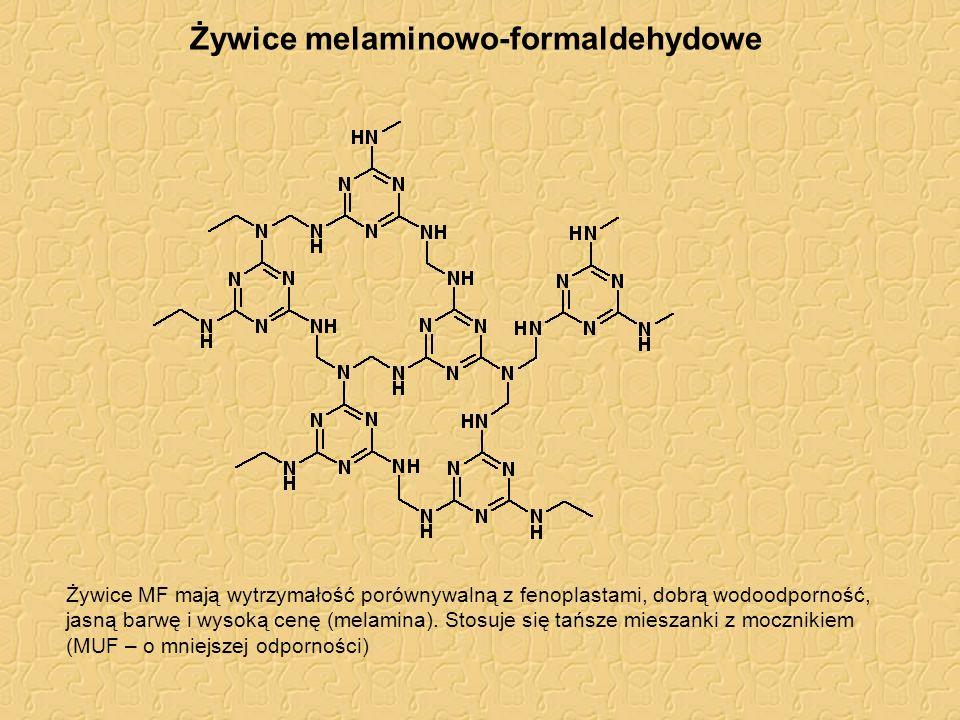 Żywice melaminowo-formaldehydowe Żywice MF mają wytrzymałość porównywalną z fenoplastami, dobrą wodoodporność, jasną barwę i wysoką cenę (melamina). S